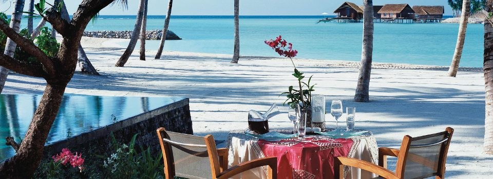 Private beach dining in the Maldives
